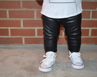 Black Faux Leather - Baby Leggings, Toddler Leggings