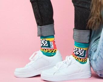 Modello forma calzini, calzini pazzeschi, fulmine calzini, calzini variopinti per donne, leopardo calze, calzini argyle donna, calze donna funky, calzini