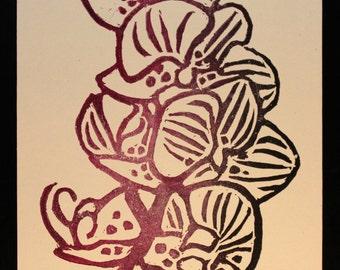 Orchid Linocut Print