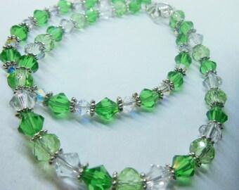 GREEN and crystal  bracelets, Christmas, St patricks, spring