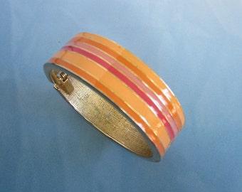 Vintage Orange, Tangerine Striped Enamel Hinged Bangle Bracelet