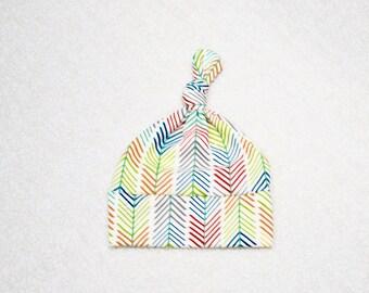 Organic Cotton Jay-Cyn Birch Quills Cream, arrows feathers Baby Boy Knot Hat, Baby Hat, Newborn Hat, Baby Gift