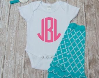Baby girls monogram set with headband and leg warmers