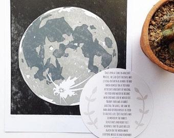 Moon Print (hand printed)