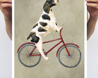 English Springer painting, print from original painting by Coco de Paris: English Springer on bicycle