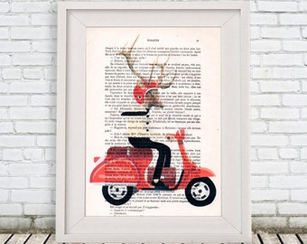 Deer On Moped - Deer print, doxie print Deer illustration Deer picture doxie decor gift for doxie lover Digital, antlers