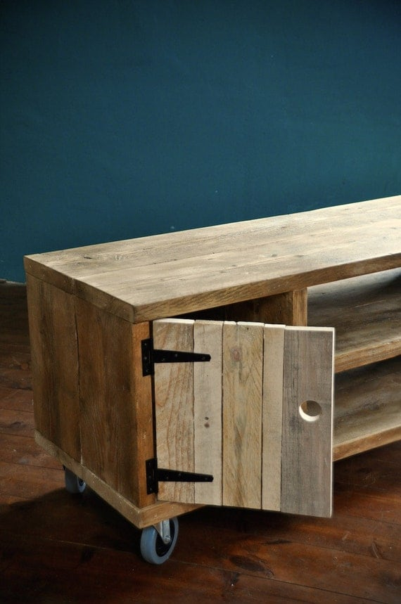 reclaimed wood sideboard rustic industrial tv media stand. Black Bedroom Furniture Sets. Home Design Ideas