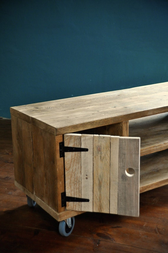 Reclaimed wood Sideboard Rustic Industrial TV Media Stand -> Wood Tv Sideboard