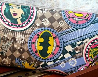 Girl Power Wristlet - Wonder Woman Clutch - Supergirl Zippered Pouch - Batgirl - OOAK - Custom Made