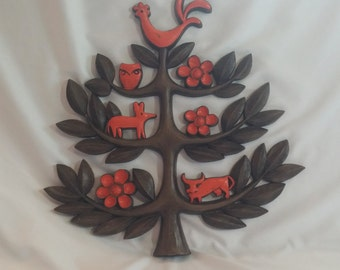 Vintage 1963 Folk Homco Tree of Life Wall Hanging