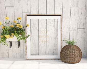 empty gold frame landscape vertical frame styled stock photographyproduct background mockup 18x24 frame mockup