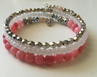 Coral Pink & White Ceylon Glass Beads