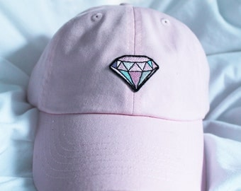 Pink Diamond embroidered Baseball Cap Pastel Goth Dad Hat Tumblr inspired