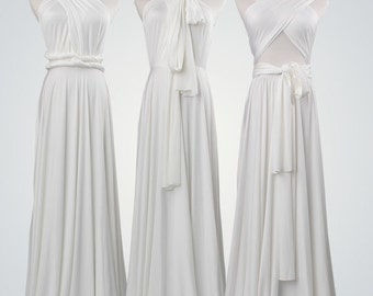 Pure White long dress, long bridesmaid dress, long convertible dress,white infinity dress,convertible wrap dress,White long bridesmaid dress