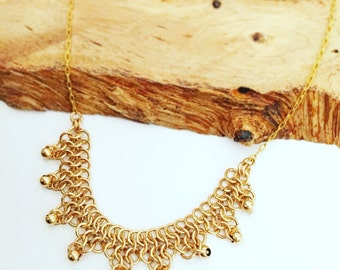 Gold filled chain link necklace statement chainmaille jewelry