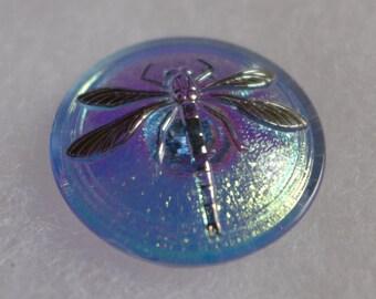 Czech glass button - blue, pink  - 30 mm