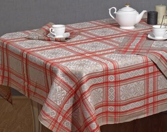 Tablecloth and 6 Napkins Set Holiday Home Decor Bright Red and Grey Kitchen Jacquard Table Linens Valentines Day Dinner Party Gift Geometric