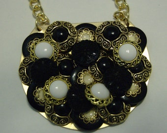 Vintage Button Collage Necklace