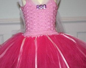 Handmade Crochet Top Aurora Inspired Tutu Dress