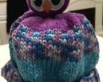 Purple/Turquoise Owl Hat