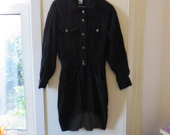 Vintage Black Corduroy Long Sleeve Dress