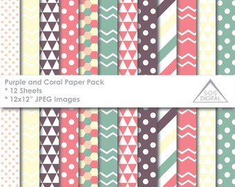 Purple and Coral Patterns Paper Pack, Digital Papers, Chevron, Polka dots, Stripe, printable, Small Commercial Use Patterns, green coral