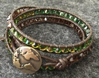 Earthy - Swarovski Crystal Leather Wrap Bracelet