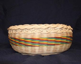 Handwoven, Hand Dyed, Wicker Fruit Basket, Traditional Basket, Craft Basket