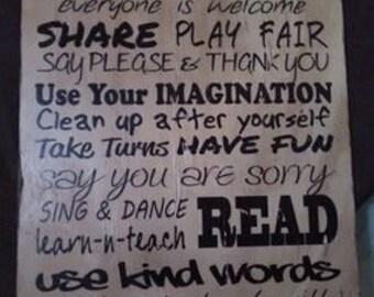 Play Room Rules Print
