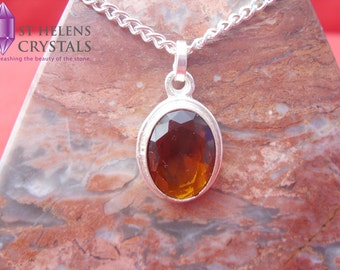 Citrine 925 Sterling Silver plated pendant necklace