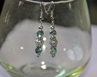 Dangle Earrings/Blue and Silver/Hooks