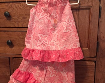 Coral/Salmon Fringed Flower Ruffle Outfit, Girls size 3