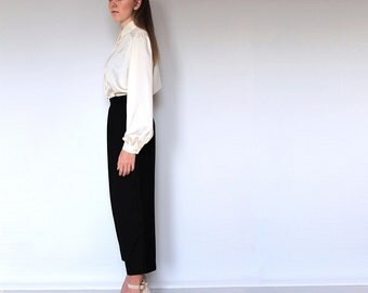 Classic Cropped Pants, Vintage 1980s, Front Peated, High waist