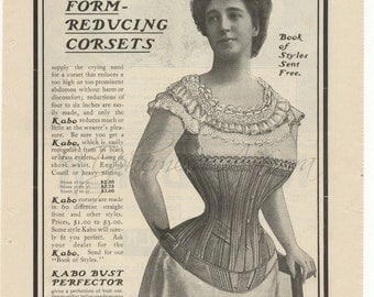 1900 Kabo Corsets Full Page W/Corticelli Silk, Cats
