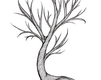 Tree Illustration print / black and white line work / tree #2
