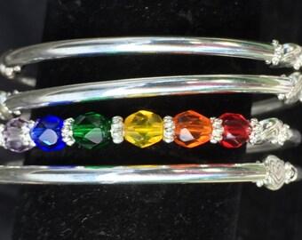 Rainbow wrap bracelet on memory wire