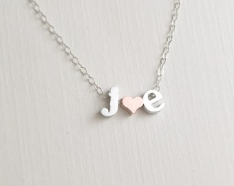 Initial Heart Necklace, Silver Lowercase Initial Necklace, Monogram Necklace, Name Necklace, Personalized Jewelry, Bridal Gift