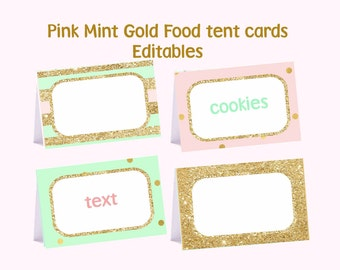 Pink Mint and Gold food tent cards, Editable food tent cards, pink mint gold place cards, Digital File.