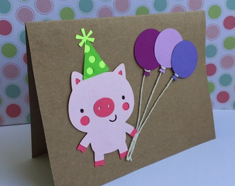 Handmade Birthday Pink Piggy Card with Purple Balloons