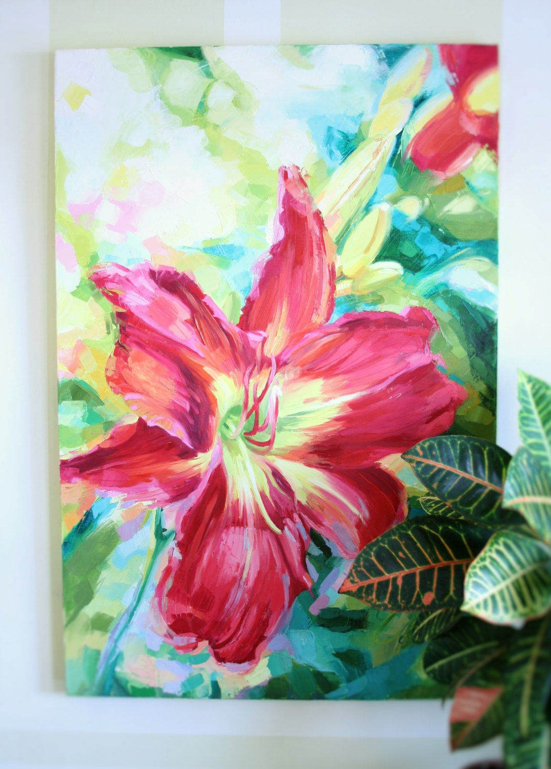 Bright color flower painting fushia lily bloom contemporary for Bright flower painting