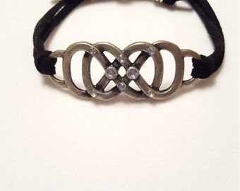 Silver Double Infinity Suede Cord Bracelet