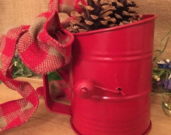 Vintage Kitchen Flour Sifter with pinecones