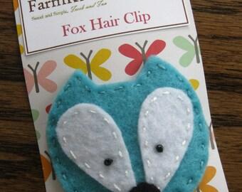 Teal Felt Fox Hair Clip, Hair Accessories, Party Favor, Woodland