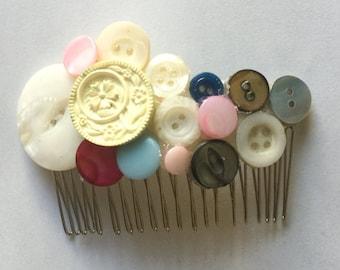 Vintage Button Hair Comb