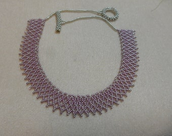 Pink and Silver seed bead necklace