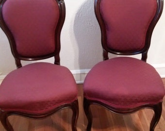 SHIPPING INCLUDED - Set of Two Antique Mahogany Louis XV Chairs with Maroon/ Red Fabric and Balloon-Shaped Backs