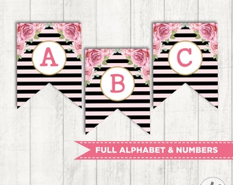 Floral Printable Banner. ALL LETTERS & NUMBERS. Instant Download. Cottage Chic Pink and Gold Pennant Flags. Paris Party Banner. Bunting FLO9