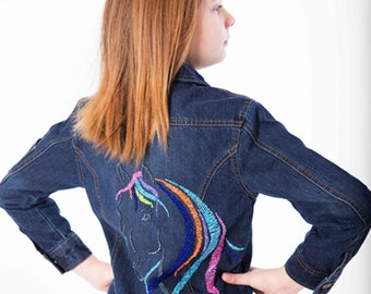 Girls' Dark Wash Hand-beaded Horse Jean Jacket