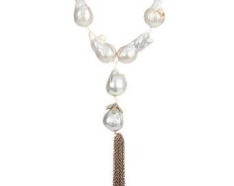Genuine Freshwater Baroque Pearl Tassel Y Necklace