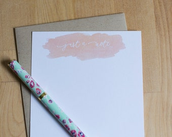 "Blush watercolor stationery set {10 cards with envelopes} // A2 stationery cards // ""Just a Note..."" notecards"